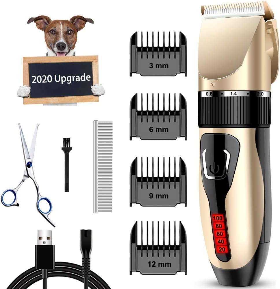 Comsmart Dog Clippers, Upgraded Dog Grooming Clippers Dog Hair Trimmer Cordless Low Noise Rechargeable Electric Quiet Pet Hair Clippers Set for Cats, Dogs, Other Pets