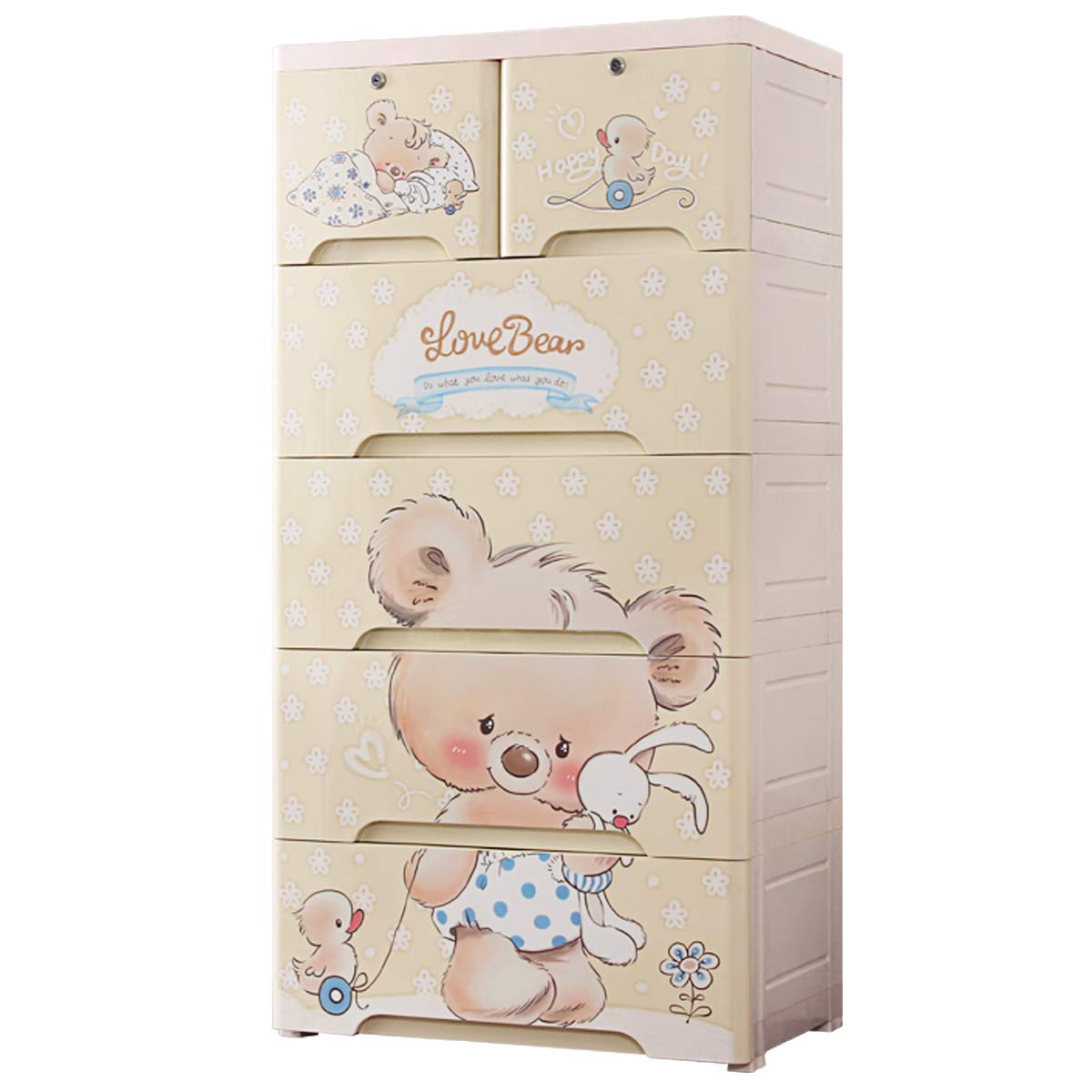 Nafenai 6 Drawer Dresser,Plastic Drawers Storage,Cute Storage Dresser Cabinet with Lock,Chest of Drawers for Bedroom/Playroom Clothes Toys Organizer Armoires,Koala Bear by Nafenai