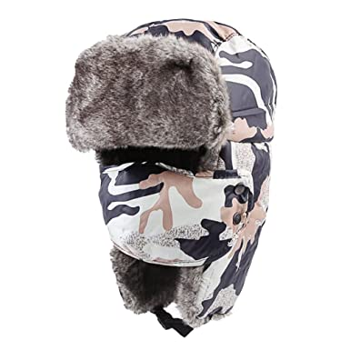 5ce5ac16e Unisex Adults Camouflage Faux Fur Winter Warm Trapper Hat with ...