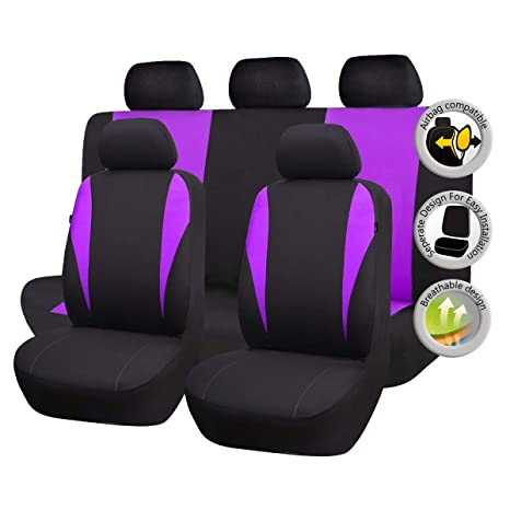 CAR PASS 11 Pieces Leather Universal Car Seat Covers Set Balck and Rose Pink