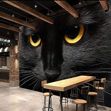 Sijoo Papel Tapiz fotográfico Gato Negro Placa de Oro Mural Animal ...