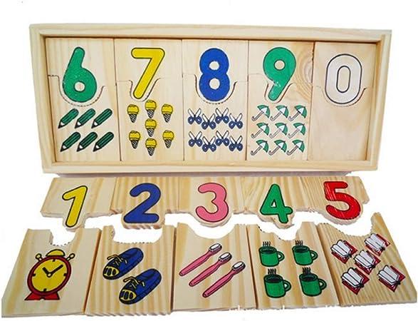 AGLKH Niños Juguetes educativos de Madera para niños Matemáticas Rompecabezas Enseñanza Logarítmica Juego de Placas Juego de Mesa Juegos Digitales, un Conjunto: Amazon.es: Hogar