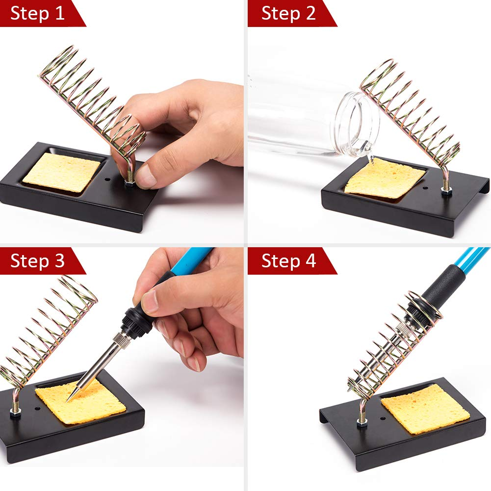 hothuimin Soldering Iron Kit Electronics, 60W 110V Adjustable Temperature Welding Tool, 5pcs Soldering Tips, Desoldering Pump, Soldering Iron Stand with Carrying Case by hothuimin (Image #5)