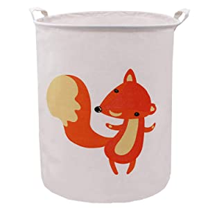 ZUEXT Large Cotton Canvas Laundry Hamper, Collapsible Round Organizer Waterproof Gift Basket with Handles for Baby Nursery, Kids Toys, College Dorms, Kids Bedroom,Bathroom,Laundry Hamper (Orange Fox)