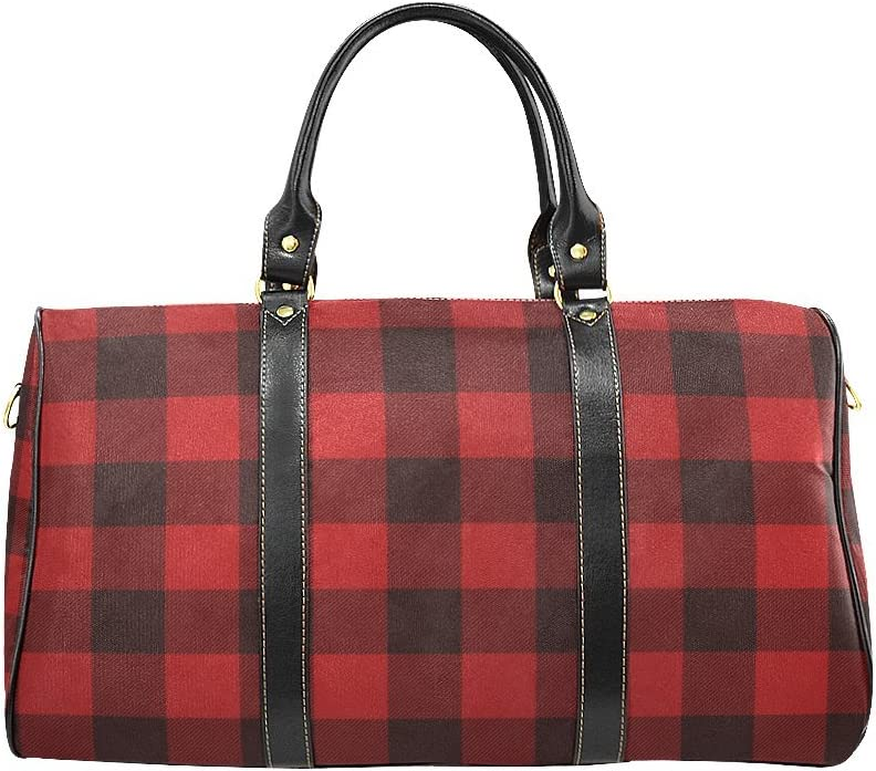 VunKo Red and Black Plaid Large Travel Duffel Bag Waterproof Weekend Bag with Strap