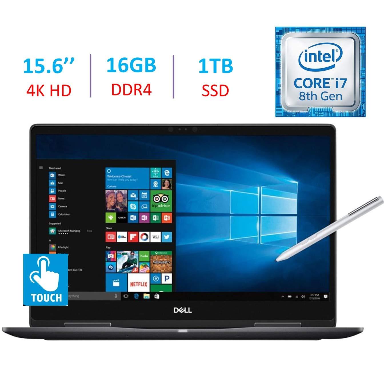 Dell 15.6-Inch 2-in-1 4K Ultra HD 3840 x 2160 Touch Laptop PC, Intel i7-8550U Processor, 16GB DDR4, 1TB SSD, NVIDIA GeForce MX130, Backlit Keyboard, Stylus Pen, Bluetooth, HDMI, Windows 10