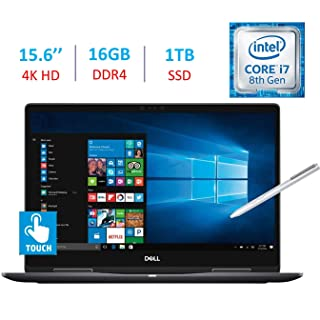 Dell 15.6-Inch 2-in-1 4K Ultra HD (3840 x 2160) Touch Laptop PC, Intel i7-8550U Processor, 16GB DDR4, 1TB SSD, NVIDIA GeForce MX130, Backlit Keyboard, Stylus Pen, Bluetooth, HDMI, Windows 10