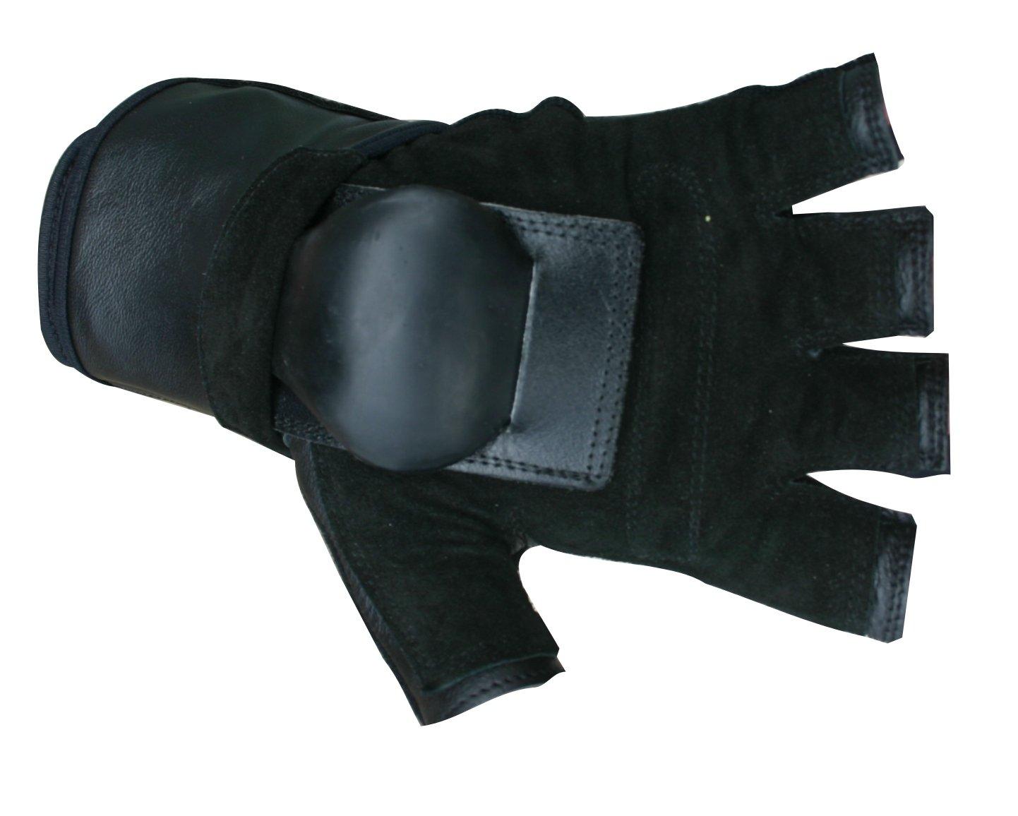 Hillbilly Wrist Guard Gloves - Half Finger (Black, Large) by Hillbilly protective gear