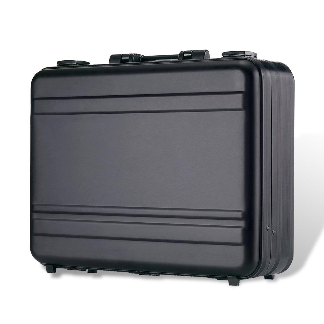 Aluminum Briefcase Large laptop case attache cases, TSA Customs Lock Custom space sponge shockproof Instrument, metal briefcase (black, 18.1X13.8X6.1 inch)