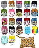 AIO Reusable Washable Cloth Diaper Nappy Charcoal Bamboo Insert Overnight (D12+1)