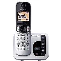 Panasonic DECT Digital Cordless Phone with Answering System & Single Handset, Silver/Black (KX-TGC220ALS)