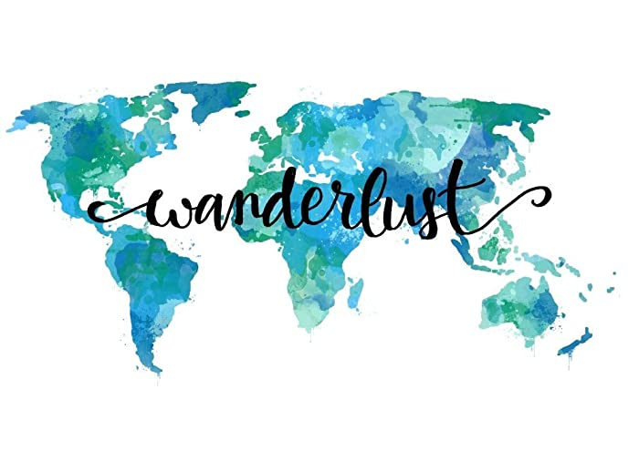 Amazon wanderlust decor 8x10 wall art quotes world map art wanderlust decor 8x10 wall art quotes world map art print teal travel home decor gumiabroncs Choice Image