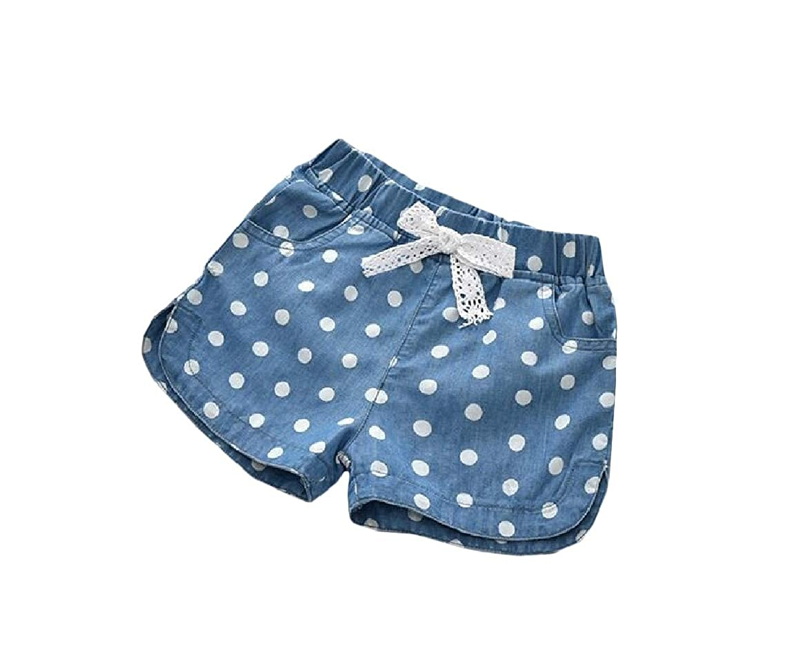 YULEgowinner Girls Loose Elastic Waist Denim Jean Polka Dots Short
