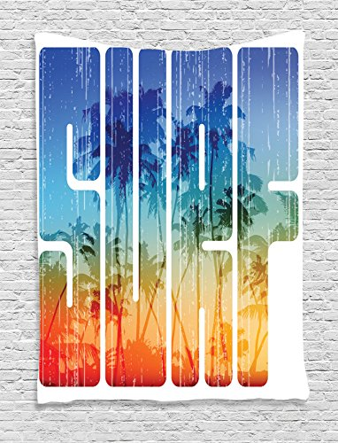 Surf Decor Tapestry Wall Hanging by Ambesonne, Summer Surf Retro Letters That Reflect the Seacoast with Palm Tree Extreme Sports Art, Bedroom Living Room Dorm Decor, 60 W x 80 L Inches, Navy Orange