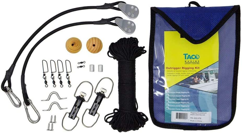 TACO F16-0311BKA8SB ClampOn Center Rigger Kit 8FT Black//Gold Pole /& Rigging Kit