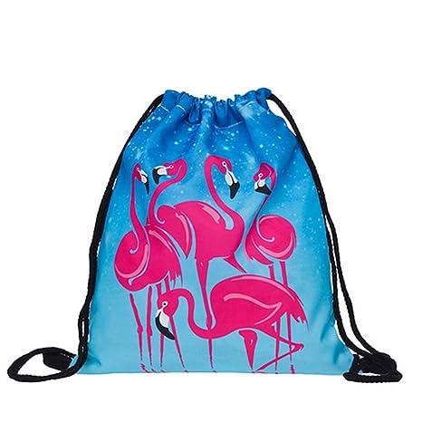 Amazon.com | Domccy Drawstring Backpack 3D Flamingo Pattern Sport Bag Gym Sack Bag Drawstring Storage Bag for School Travel Outdoor Luggage, wallet, ...