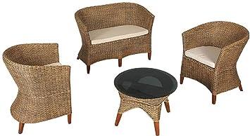 Inconnu Salón ratán y Madera Caoba 4 Piezas, 2 sillones de ...