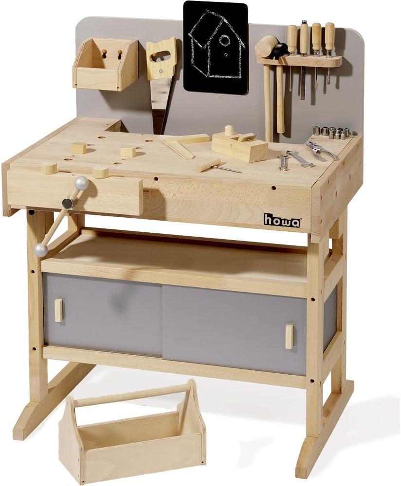 Howa Massive Werkbank Hartholz mit Werkzeugkiste - Kinderwerkbank mit echtem Werkzeug