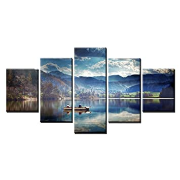 Fishing on the calm lake landscape painting print on canvas blue sky and white clouds mountains