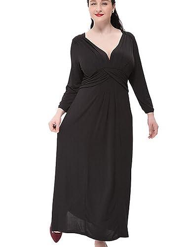 Size L-6XL,Womens Classic Dresses Plus Size Evening Party Dresses for Wedding,Black