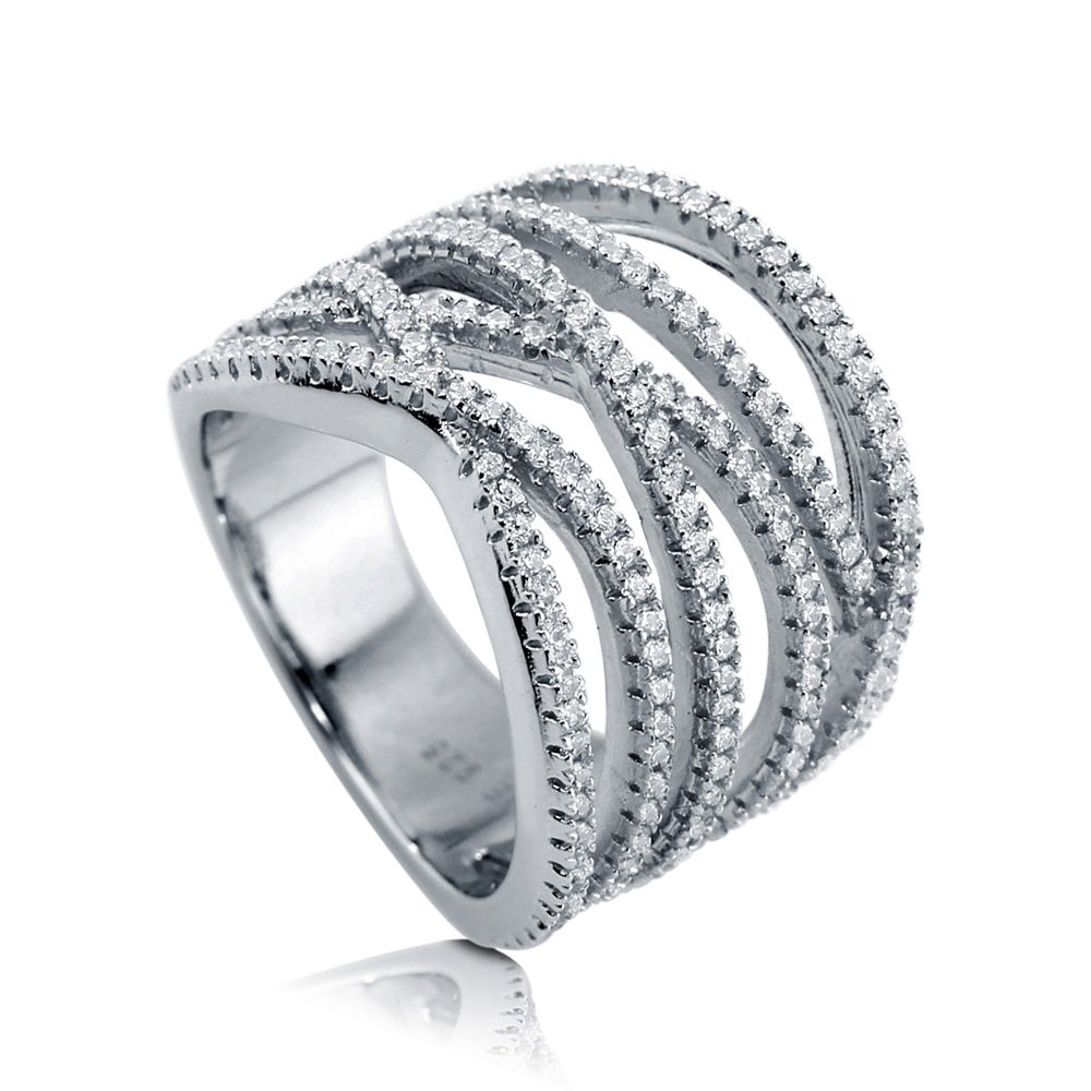BERRICLE Rhodium Plated Sterling Silver Woven Cocktail Ring Made with Swarovski Zirconia Size 6