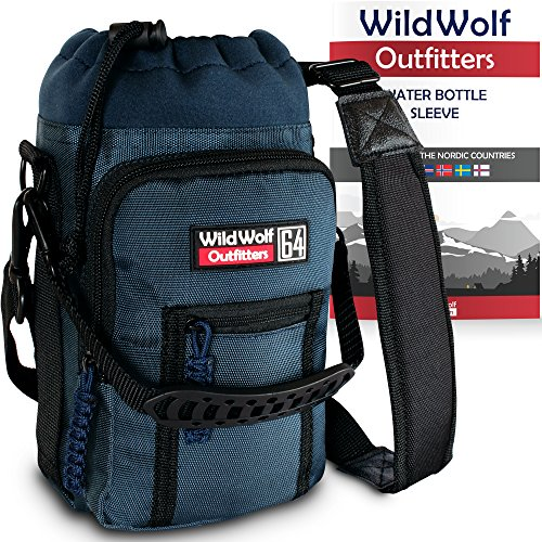 Water Bottle Holder for 64oz Bottles by Wild Wolf Outfitters - Blue - Carry, Protect and Insulate Your Best Flask with This Military Grade Carrier w/ 2 Pockets & an Adjustable Padded Shoulder Strap. (Carrier Beer Growler)