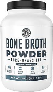 Bone Broth Powder, 2lb Pure Grass Fed Beef Bone Broth Protein Powder - Unflavored. Rich in Collagen, Glucosamine & Gelatin, Paleo Protein Powder, Keto, Gut-Friendly, Non-GMO, Dairy Free. (32oz)