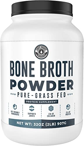 Bone Broth Powder, 2lb Pure Grass Fed Beef Bone Broth Protein Powder – Unflavored. Rich in Collagen, Glucosamine Gelatin, Paleo Protein Powder, Keto, Gut-Friendly, Non-GMO, Dairy Free. 32oz