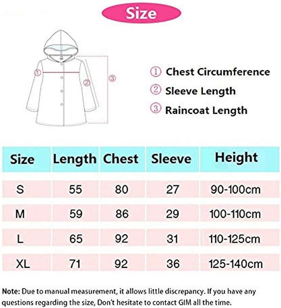 Lightweight for Ages 3-12 Years Old Girls and Boys 4 Size TopRen Kid Rain Coat Cartoon Children Waterproof Raincoat