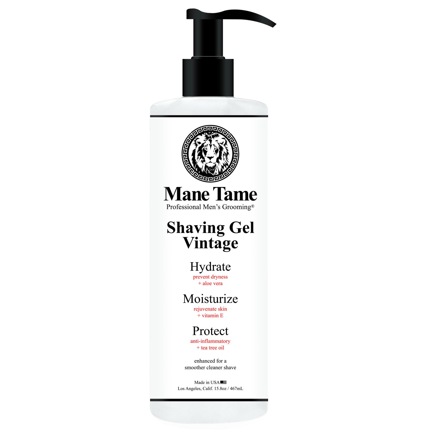 Mane Tame Professional Men's Grooming Shaving Gel, Vintage Collection, Clear Natural Formula with Tea Tree, Aloe Vera, Vitamin E, Professional Barber Quality, Made in USA, 15.8 oz. MT1SHVGEL6