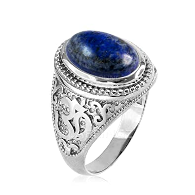 Amazon.com: Plata de ley Om Aum) de lapis lázuli Yoga Anillo ...