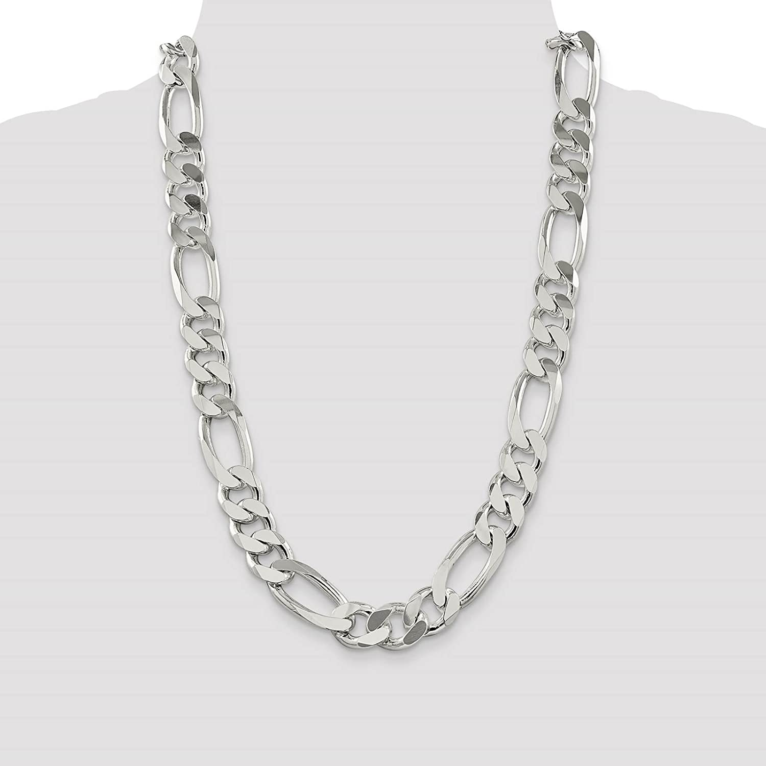 925 Sterling Silver 15mm Polished Figaro Link Chain Necklace 8-24