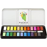 Puchie Pintura de Acuarela con 24 Colores, Acuarelas para Artistas, Principiantes y niños con Pincel de Agua Incluido. Acuarela para Viaje, portatil.