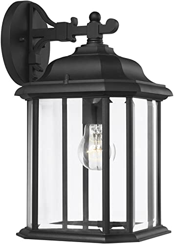 Sea Gull Lighting 84031-12 Kent One-Light Outdoor Wall Lantern with Clear Beveled Glass Panels, Black Finish
