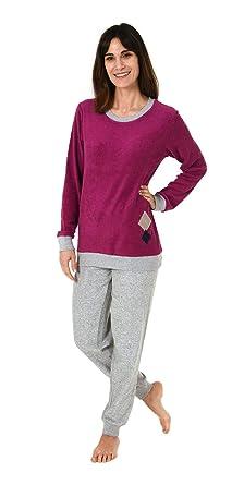 26f3dc9601 RELAX by Normann Eleganter Damen Frottee Pyjama Schlafanzug mit Bündchen -  61697: Amazon.de: Bekleidung