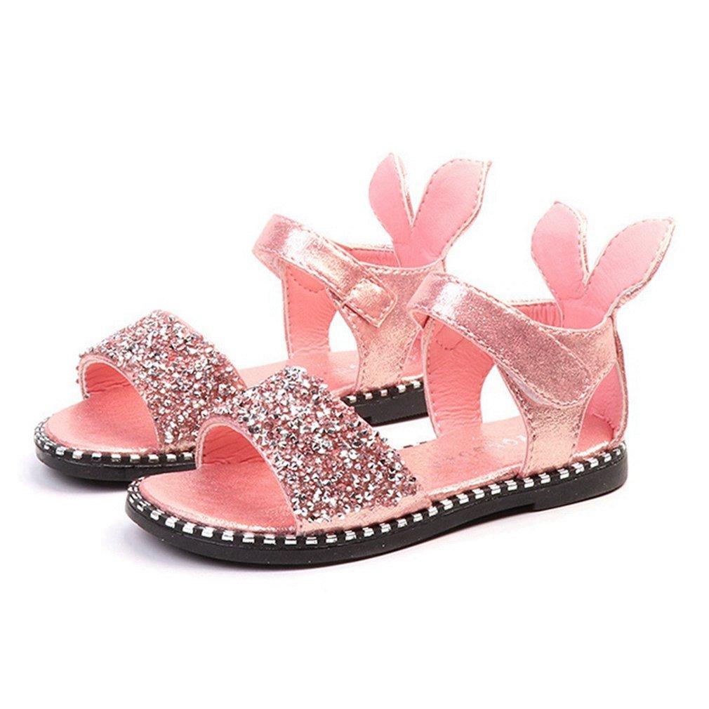 CYBLING Girl's Open Toe Sandals Glitter Sequins Summer Princess Flat Shoes (Toddler/Little Kid)