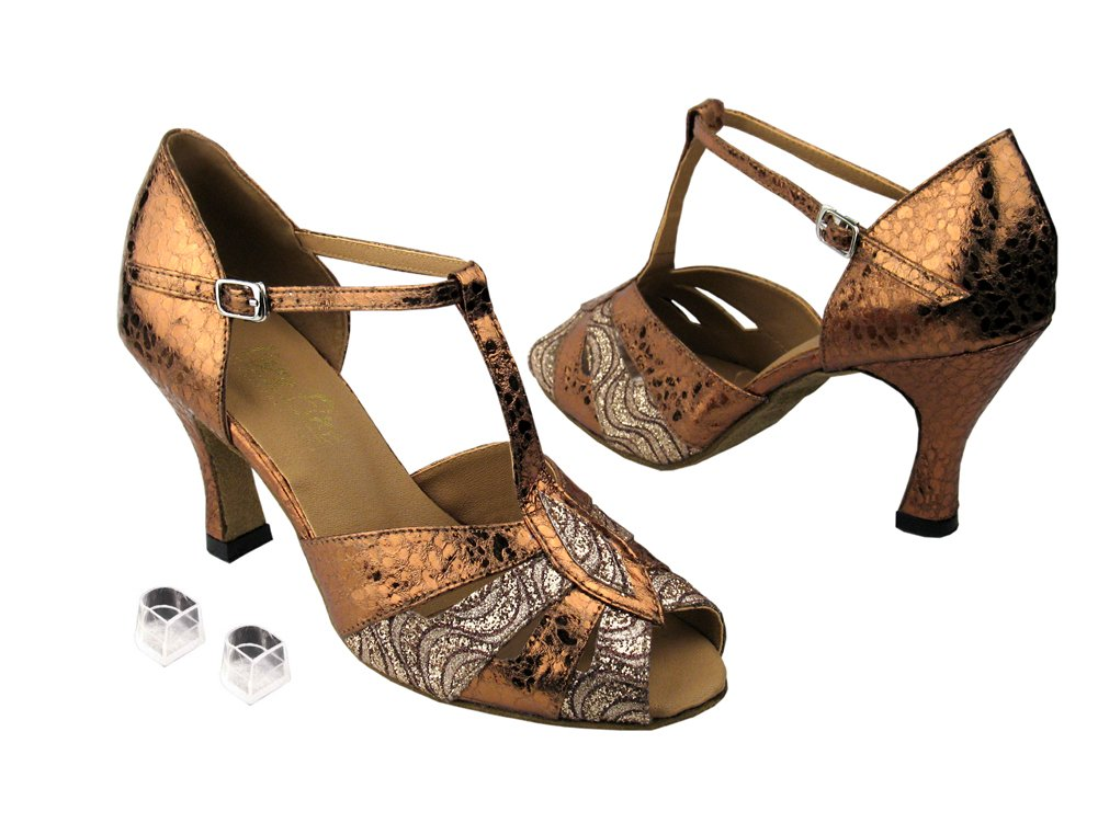 Very Fine Ladies Women Ballroom Dance Shoes EK2702 Copper Sparkle & Ultra Copper 3'' Heel (7M)