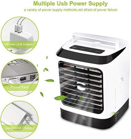 Lbellay 4 en 1 refrigerador de aire portátil para aire acondicionado, humidificador, purificador de aire, mini ventilador de aire acondicionado para escritorio de oficina y hogar,Black-22*16*16 cm: Amazon.es: Hogar