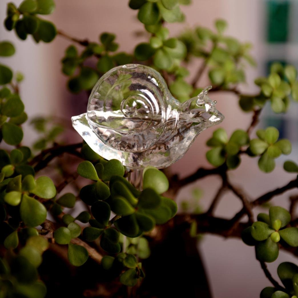 Plant Watering Globes,YUYOUG Self Watering Clear Glass Aqua Globes Plant Automatic Watering Bulbs System Device Cute Snail Shape Design Hand Blown