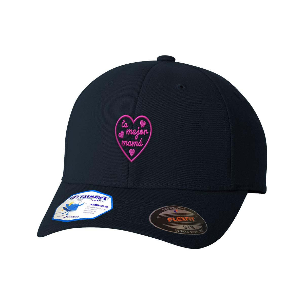 Custom Flexfit Hats for Men /& Women La Mejor Mama Heart Pink Embroidery