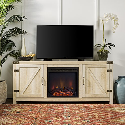 Home Accent Furnishings New 58 Inch Barn Door Fireplace Television Stand – White Oak Color