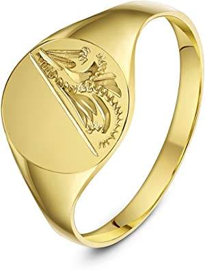 Theia Ladies Oval Shape Engraved Design Heavy Weight 9 Ct Yellow Gold Signet Ring Amazon Co Uk Jewellery