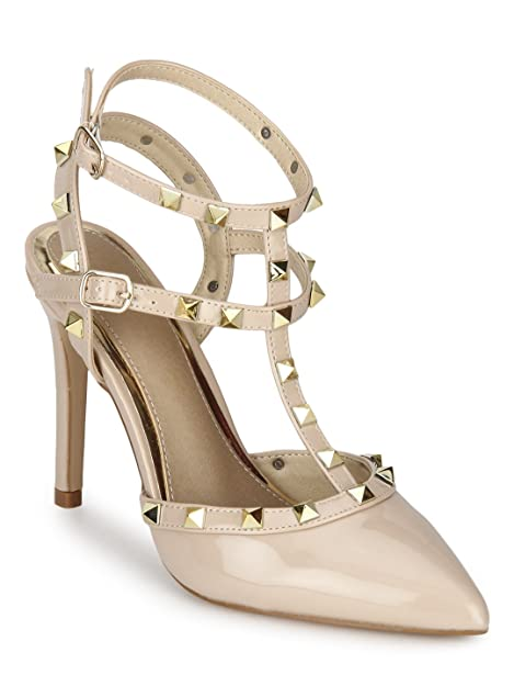 518438151cd TRUFFLE COLLECTION Nude Studded Strappy Stiletto Heels  Buy Online ...