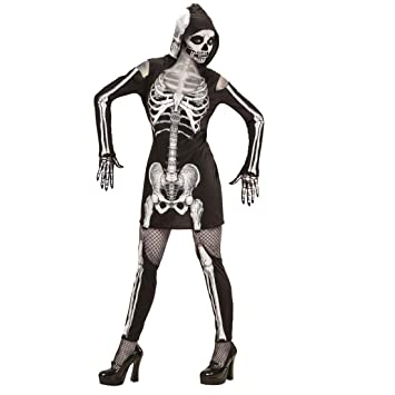 Amakando Vestido ceñido Esqueleto para Mujer / Negro-Blanco en ...