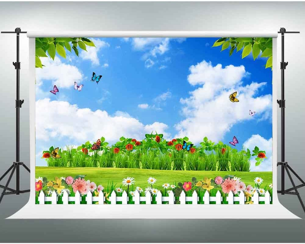 GESEN Spring Backdrop 7X5ft Blue Sky White Clouds Colorful Flowers Butterfly Garden Background Wedding Themed Party Backdrop Video Studio Props TMGE172