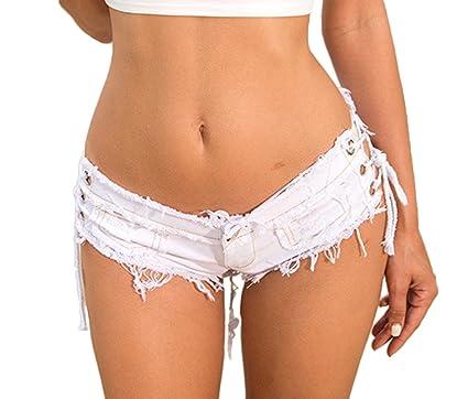 Lukis Damen Denim Hot Pants Mini Jeans Kurz Shorts mit Loch Weiß S Taille  70cm 51379f6876