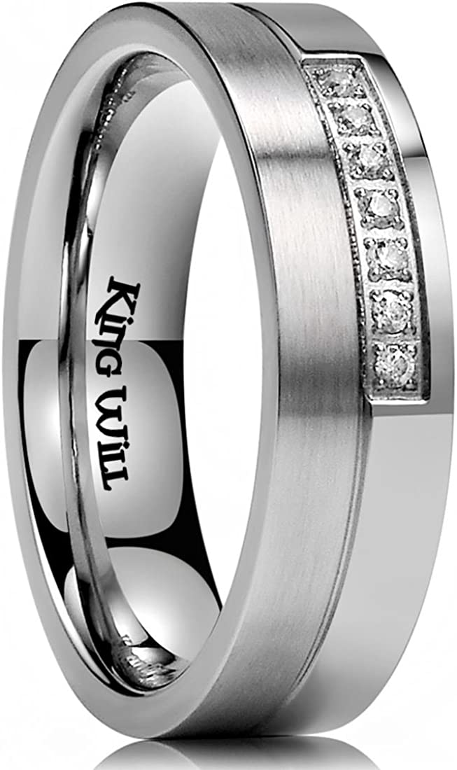 King Will GEM Mens 6mm Stainless Steel Wedding Ring Inlay with 7 Cubic-zircons Matte & Polished Unisex