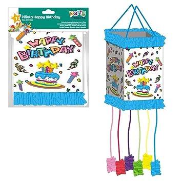 ALMACENESADAN 9969,Piñata viñeta Feliz cumpleaños, con 6 Cintas, Dimensiones 20x30 cm