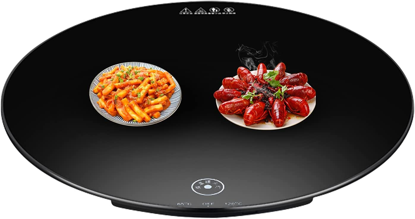 Round Food Warming Tray Round Food Warmer Plate 65/120? Electric Hot Plate Round Food Warmer Tray Food Heating Plate (110 Volt, 23.6 inch Diameter (Non-rotatable))