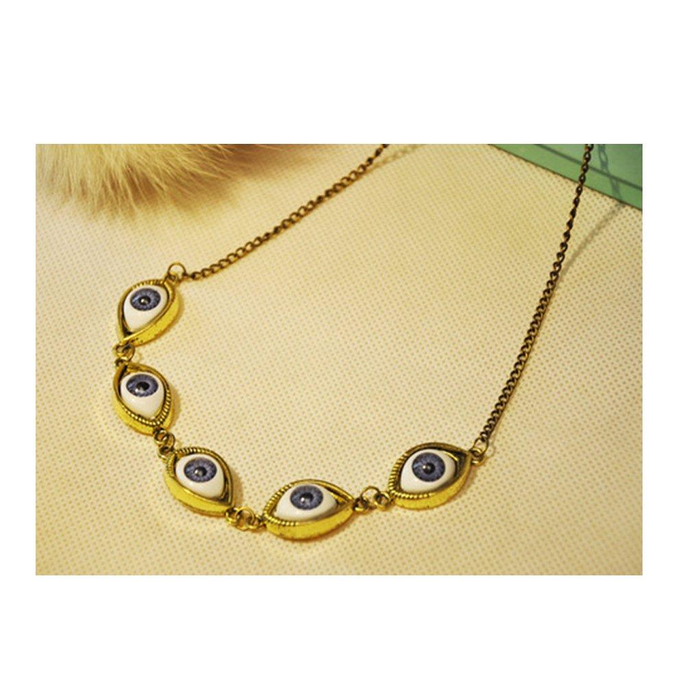 Darkey Wang Punk Fashion Unisex Blue Demon Eyes Clavicle Short Necklace